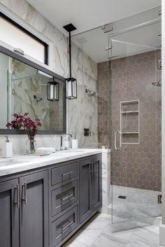 27 Perfect Grey Bathroom Vanity Backsplash Ideas - DIY Craft and Home Grey Bathroom Vanity, Grey Bathrooms, Small Bathroom, Master Bathroom, Bathroom Vanities, Taupe Bathroom, Bathroom Green, Large Bathrooms, Bathroom Art