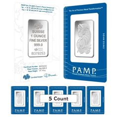 Lot of 5 - 1 oz PAMP Suisse Lady Fortuna Silver Bar .999 Fine (In Assay)