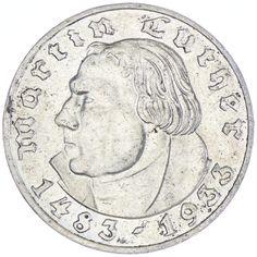 """2 Reichsmark 1933 A """"Martin Luther"""" Drittes Reich, zum 450. Geburtstag von Martin Luther"""