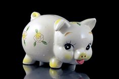 Ceramic Piggy Bank, Coin Bank, Ivory Color, Yellow Floral, Made in Japan, Yellow Nose Piggy Bank, Hand Painted, Nursery Decor, Collectible by MountainAireVintage on Etsy