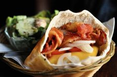 Bacon Cheeseburger in a pita, so theres not so much bread.. genius!