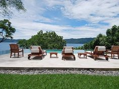 pool and lounge chairs overlooking the lake - El Salvador house vacation rental photo
