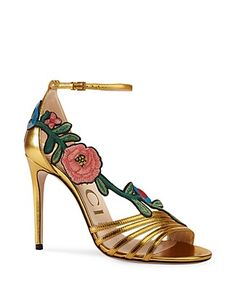 Gucci Ophelia Embroidered High Heel Sandals
