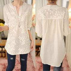 Women's Notch Neck Sleeve T-Shirt Flower For Women Embroidery Lace Tops Top T-Shirts Female Shirts Summer Shirt harajukuFashion Women Summer Loose Top Short Sleeve Blouse Ladies Casual Tops T-Shirt LMLength: Above Knee. White Shirts Women, Blouses For Women, Women's Blouses, White Women, Blouse Styles, Blouse Designs, Looks Plus Size, Casual Tops For Women, Mode Hijab