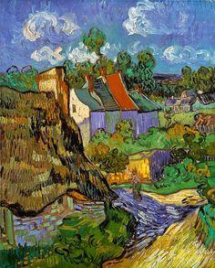 """Vincent van Gogh, """"Case ad Auvers"""" (1890)  Un dipinto dell'ultimissimo periodo di Van Gogh quando dopo il periodo in Provenza ed una breve sosta a Parigi si spostò ad Auvers. (Sig)"""