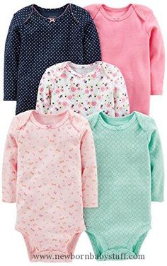 Baby Girl Clothes Simple Joys by Carter's Baby Girls' 5-Pack Long-Sleeve Bodysuit, Pink/Navy/Mint, 0-3 Months