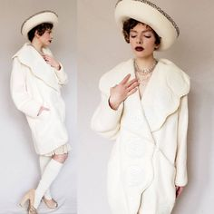 Cream Wool Coat Leather Embossed Flowers Large Collar Norma Canada / Does Shawl Collar Overcoat Ivory White / M by RareJuleVintage on Etsy 20s Style, 20s Fashion, Ivory White, Wool Coat, 1980s, Shawl, Vintage Outfits, Canada, Coats