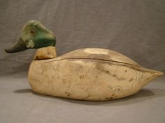 Vintage Primitive Wood Carved GoldenEye Whistler Old Folk Art Drake Duck Decoy   eBay
