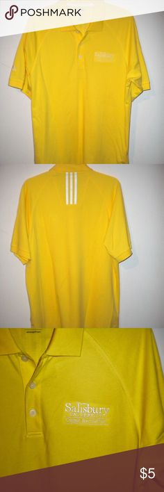 Yellow S.U. Adidas Golf Shirt This is a yellow short-sleeved Adidas Golf shirt. It was never worn except for this photograph. It is a size medium and shown on my fiance who wears a size 2XL.  All offers and questions are welcome! adidas Shirts Tees - Short Sleeve