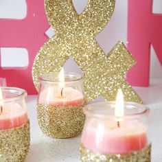 Add a personal touch to your wedding or bridal shower tables with these pretty glitter candles!