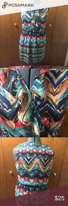 AB Studio Sleeveless Dress sz Large Love this dress so fun! It's a size large and the colors are so pretty. Just pair with a cute cami and can be worn all year. Only worn twice! AB Studio Dresses