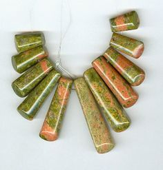 Green and Pink Unakite Mini Cleopatra Collar Fan by RockNBeads, $14.00