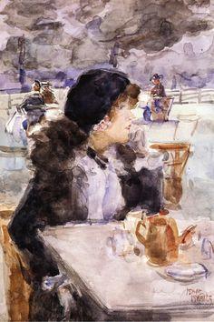 "wonderingaboutitall: ""An Elegant Beauty Having Tea In Hyde Park - Isaac Israëls """
