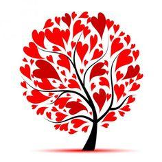Valentine tree, love, leaf from hearts Vinyl Wall Mural Valentine Tree, Happy Valentines Day, Red Love Heart, Heart Tree, Spring Tree, Butterfly Wall, Tree Art, Doodle Art, Heart Shapes