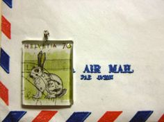 #Swiss Postage Stamp Charm - #Switzerland #Rabbit
