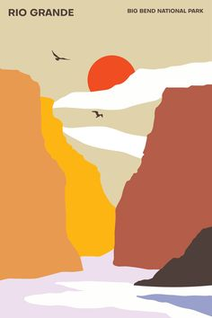 The Rio Grande - Big Bend National Park - Poster - Minimalist Print – Travel Posters - National Park Travel Poster - Wall Hangings National Park Posters, National Parks, Wall Art Prints, Poster Prints, Poster Wall, Jazz Poster, Posca Art, Kunst Poster, Inspirational Wall Art