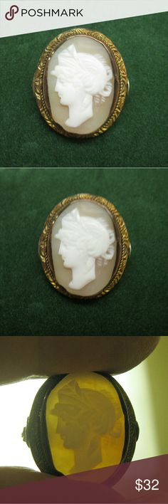 ANTIQUE Greek Goddess Shell Gold Cameo ANTIQUE mid-19th century gold shell cameo.  This diminutive beauty features a raised finally carved cameo of a Greek Goddess bezel set in gold tone metal.  Cameo casing features finely hand etched design.  I do not know metal content but most were 9k gold plated.  A newer (1920s) safety pin replacement was added by a jeweler.  A one-of-a-kind addition to your collection for wear or display.  EUC   (617MQ95) ANTIQUE Jewelry Brooches