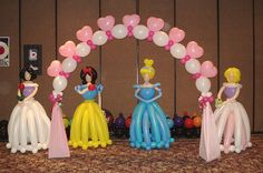YOUR little princess will adore OUR princesses! Snow White, Cinderella and their royal friends come magically to life as life-size balloon figures!