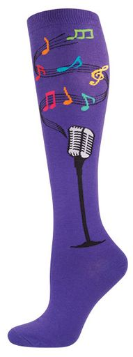 Women's Novelty Knee High Socks - Microphone From Socksmith Designs