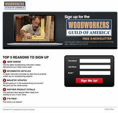 Sign Up for the WoodWorkers Guild of America Newsletter for the best woodworking projects, woodworking videos, woodworking tutorials and woodworking tips! http://go.wwgoa.com/wwgoalive/?utm_content=buffer42878&utm_medium=organic&utm_source=pinterest&utm_campaign=A217 #WWGOA