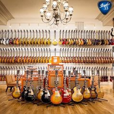 Les Paul wall at Chicago Music Exchange Guitar Shop, Music Guitar, Cool Guitar, Playing Guitar, Acoustic Guitar, Gibson Les Paul, Guitar Display, Guitar Storage, Paul Wall