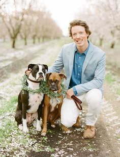 wedding pups with wreaths - how sweet!