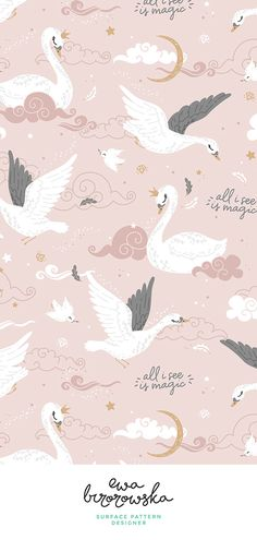 Baby Cute Illustration Print Patterns 49 Ideas For 2019 Textile Pattern Design, Surface Pattern Design, Nursery Patterns, Nursery Prints, Baby Wallpaper, Pattern Wallpaper, Swan Wallpaper, Painting Patterns, Print Patterns