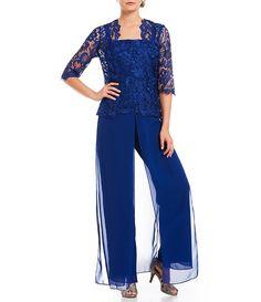 c0543acff3 Royal Emma Street Lace Chiffon 3-Piece Pant Set