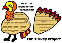 Twas the Night Before Thanksgiving Fun Book Report Projects and Templates