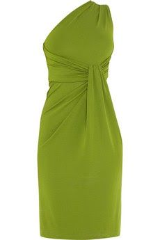 Net-A-Porter: Asymmetrical green dress: Michael Kors Leather envelope clutch: Jimmy Choo Eva suede mules: Diane von Furstenberg ...