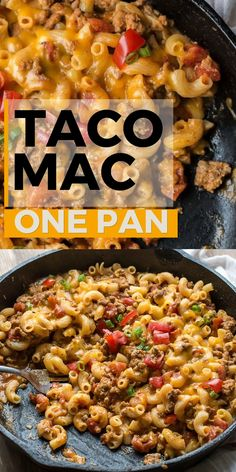 This Easy Taco Mac is a quick one pan, 30 minute meal packed with taco meat, noodles and cheese! Seriously the easiest one pan pasta dish you will ever make! recipes Easy Taco Mac (one pan + gluten free) Easy Meat Recipes, Dinner Recipes Easy Quick, Easy Casserole Recipes, Quick Easy Meals, Mexican Food Recipes, Taco Casserole, Easy Meals For One, Recipes With Rotel, Healthy 30 Minute Meals