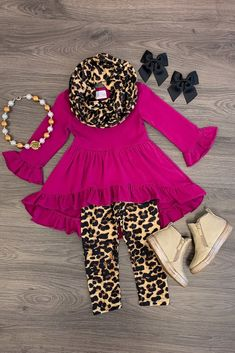 Fuchsia Cheetah Hi-Low Scarf Set Little Girl Outfits, Cute Outfits For Kids, Little Girl Fashion, Toddler Outfits, Kids Fashion, Toddler Girl Clothing, Kid Clothing, Baby Outfits, Two Piece Clothing Sets