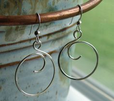 Hand Forged Sterling Silver Wire Curly Q Circle Earrings by Oogle, $16.00