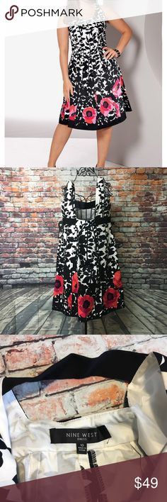 Nine West Floral- print fit Flare dress size 10 Nine West Floral- print fit Flare dress Women's size 10 color white/pink/black new with tags perfect condition see pictures for measurements!!!! Nine West Dresses