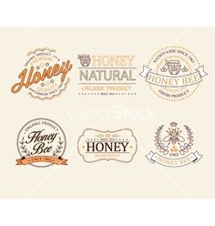 Honey and bees badges labels for any use vector - by TopVectors on VectorStock®