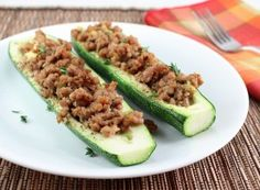 Dijon Pork Stuffed Zucchini (Low Carb and Gluten Free) - Holistically Engineered I used acorn squash and it was wonderful.