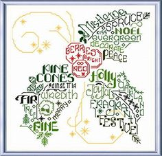 Lets FaLaLa Holly - cross stitch pattern designed by Ursula Michael. Category: Words.