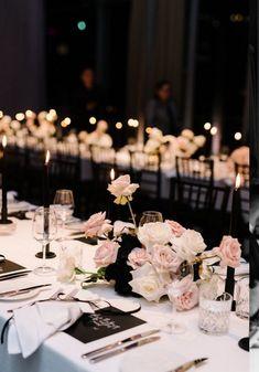20 Modern Blush and Black Wedding Color Ideas – wedding centerpieces Simple Wedding Centerpieces, Wedding Table Decorations, Wedding Table Settings, Wedding Themes, Wedding Designs, Wedding Colors, Wedding Ideas, Centerpiece Flowers, Wedding Inspiration