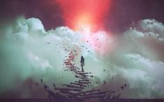 young woman standing on broken stairs leading up to sky, digital art style, illustration painting - Buy this stock illustration and explore similar illustrations at Adobe Stock Moon Astro, Heaven Wallpaper, Law Attraction, Definition Of Success, Personal Values, Finding Purpose, Spiritual Enlightenment, Spiritual Growth, Spiritual Teachers