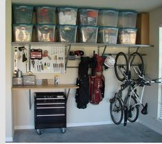 Love the bikes hanging on the wall.