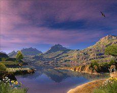 bela paisagem do céu roxo bonito ...