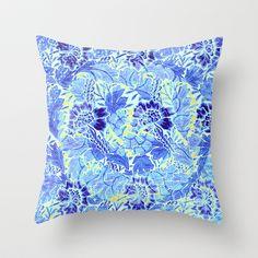 blue Floral Throw Pillow #vintage,#floral,#pattern,#blue