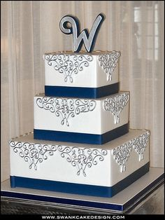 99 Amazing Navy Blue Wedding Cakes for Different Touch - VIs-Wed Navy Silver Wedding, Navy Blue Wedding Cakes, Elegant Wedding Cakes, Blue And Silver, Navy And Silver Wedding Invitations, Blue Weddings, Silver Wedding Centerpieces, Silver Centerpiece, Our Wedding