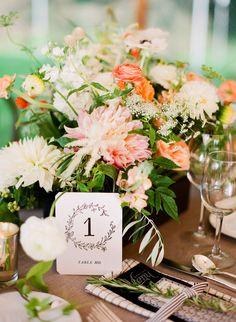 Late Summer // Photo by Robert Sukrachand #weddingflowers #tablesetting