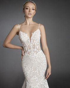 Fit-and-flare gown in white sequin embroidered lace with sweetheart neckline and narrow sequin straps Love by Pnina Tornai   Style: 14895N Wedding Dresses With Straps, Fit And Flare Wedding Dress, Bridal Dresses, Kleinfeld Wedding Dresses, Embroidered Lace, Sequins, Gowns, Formal Dresses, Spaghetti
