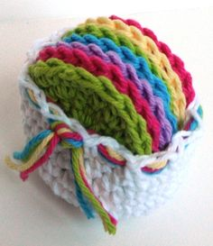 Crochet Scrubbies with Crochet Basket - Set of 7  - Rainbow Colors - 100% Cotton. $6.00, via Etsy.