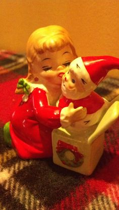 Vintage Christmas Collectible Figurine Girl with by BelikeJenn