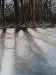 de Swienswei te Sittard in wintertijd acryl op doek 50x70