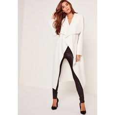 Missguided Oversized Waterfall Duster Coat White ($32) ❤ liked on Polyvore featuring outerwear, coats, ivory, white winter coat, oversized coat, waterfall coat, white coat and ivory coat