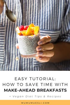Discover how to create a succulent Muesli with Yogurt parfait that's vegan. Yet another easy vegan recipe to add to your clean eating family meal plan! Healthy Make Ahead Breakfast, Vegan Breakfast Recipes, No Carb Recipes, Raw Vegan Recipes, Healthy Fats Foods, Health Foods, Clean Eating Food List, Healthy Eating, Best Pregnancy Foods